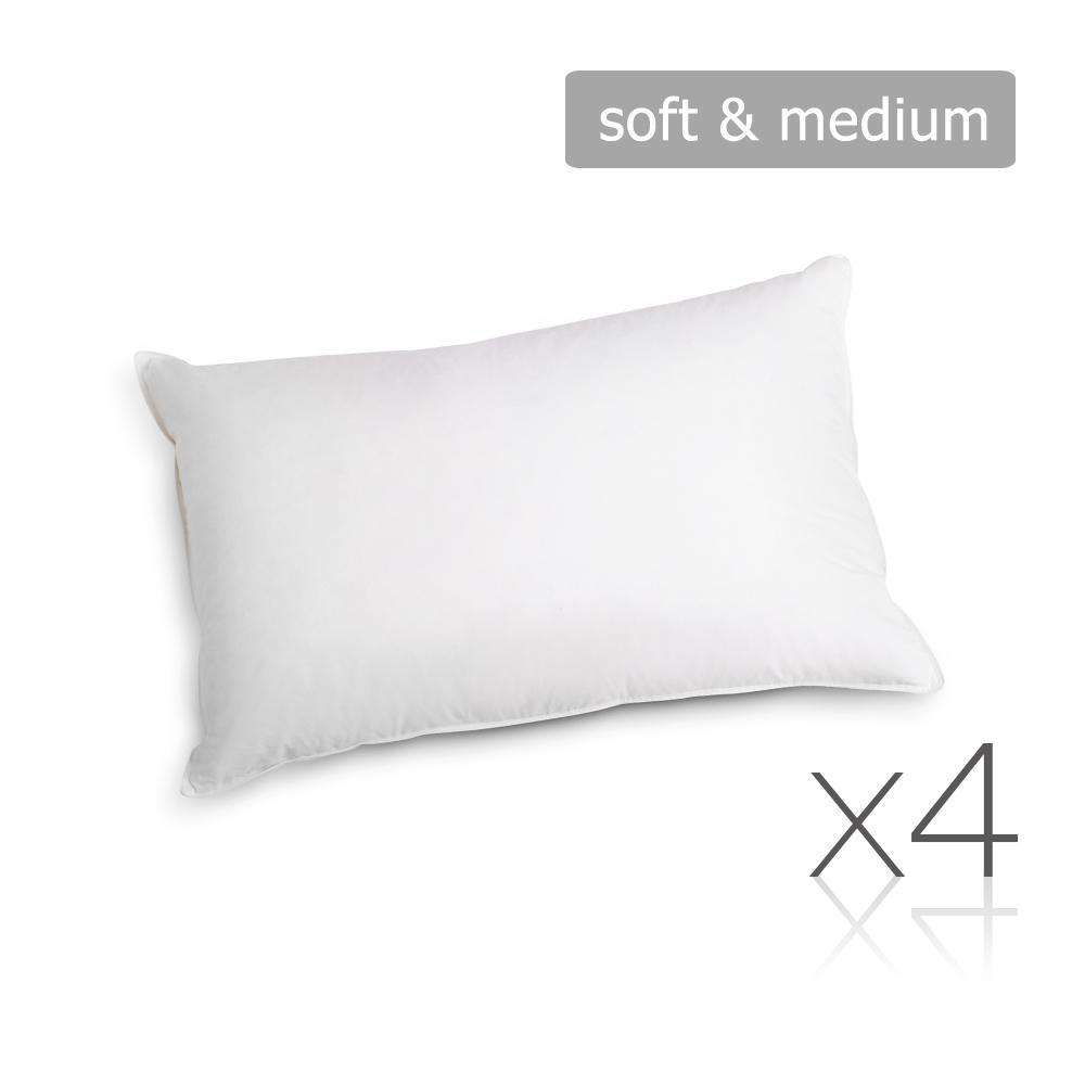 Set of 4 Pillows - 2 Soft & 2 Medium