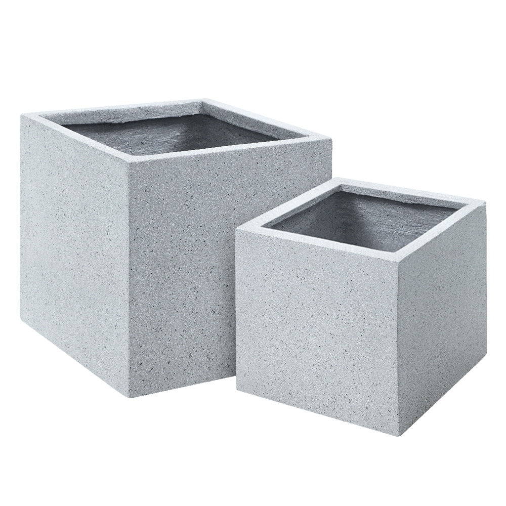 Gardeon 2X Plant Pots Plants Pot Stone Large Garden Indoor Outdoor Flower Planters Decor Grey Square