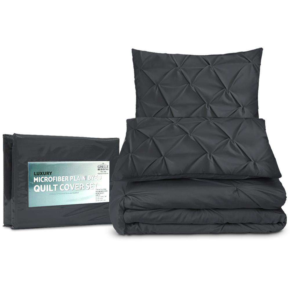 Super King 3-piece Quilt Set Black - Desirable Home Living