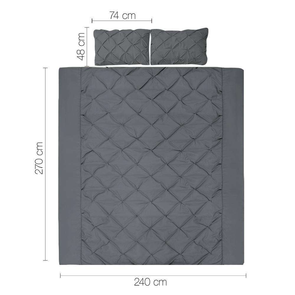 Super King 3-piece Quilt Set Charcoal - Desirable Home Living
