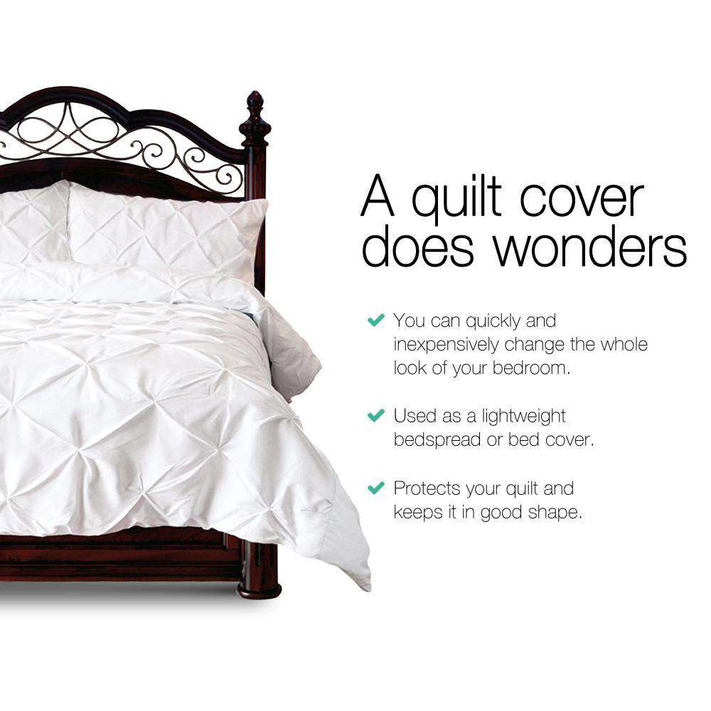 Super King 3-piece Quilt Set White - Desirable Home Living