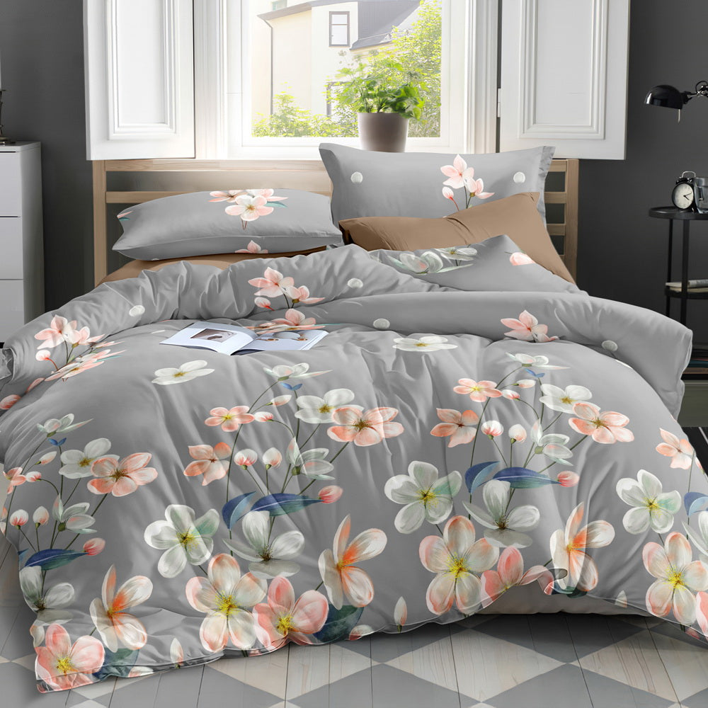 Giselle Bedding Quilt Cover Set King Bed Flower Pattern Grey