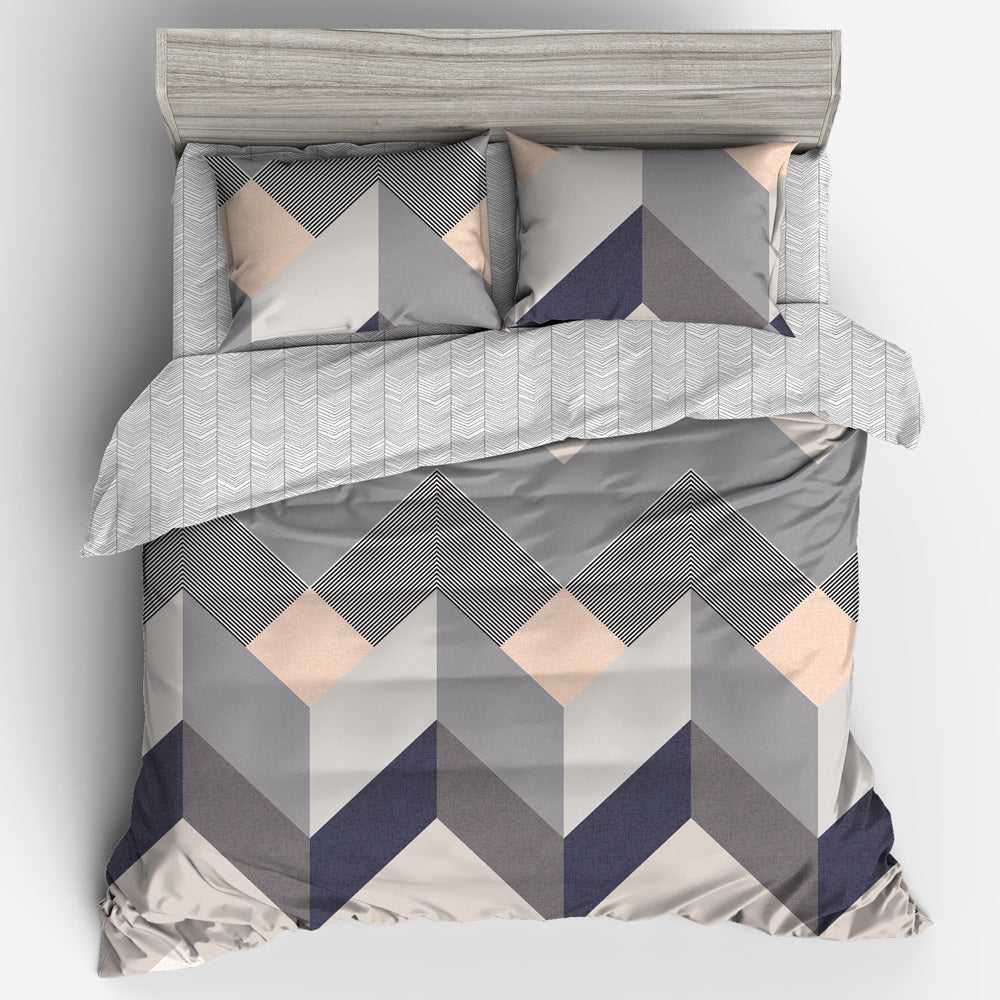 Giselle Bedding Quilt Cover Set King Bed Geometry Square Pattern