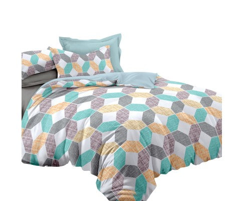 Giselle Bedding Quilt Cover Set King Bed Geometry Pattern