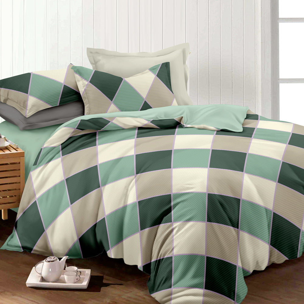 Giselle Bedding Quilt Cover Set King Bed Square Diamond Pattern