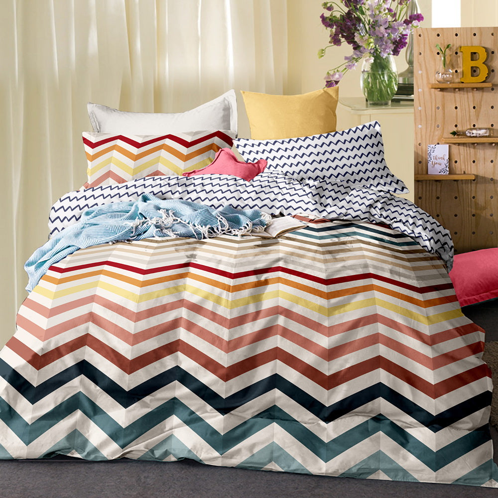 Giselle Bedding Quilt Cover Set King Bed Wave Pattern Colourful