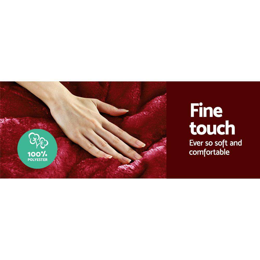Giselle Bedding Faux Mink Comforter Burgundy Double