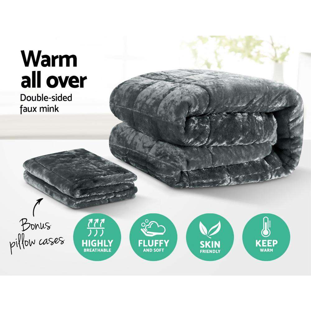 Giselle Bedding Faux Mink Comforter Charcoal King