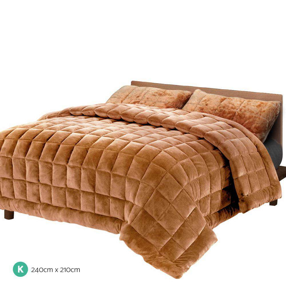 Giselle Bedding Faux Mink Comforter Latte King