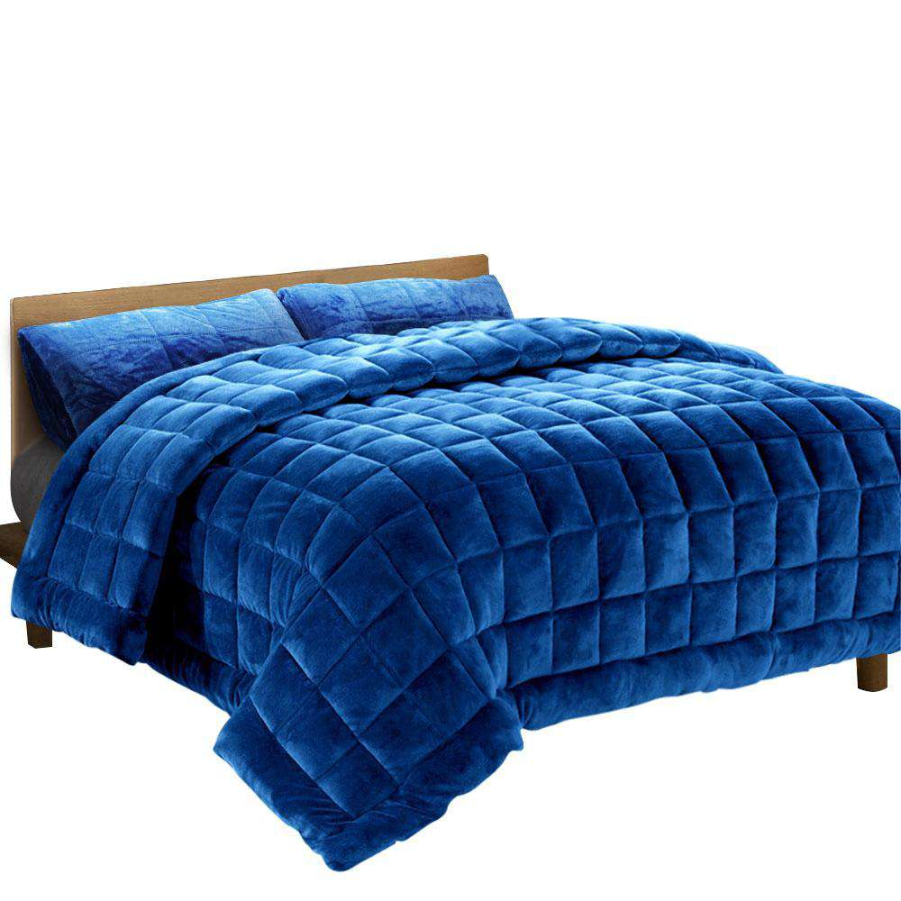Giselle Bedding Faux Mink Quilt Duvet Comforter Fleece Throw Blanket Navy Double