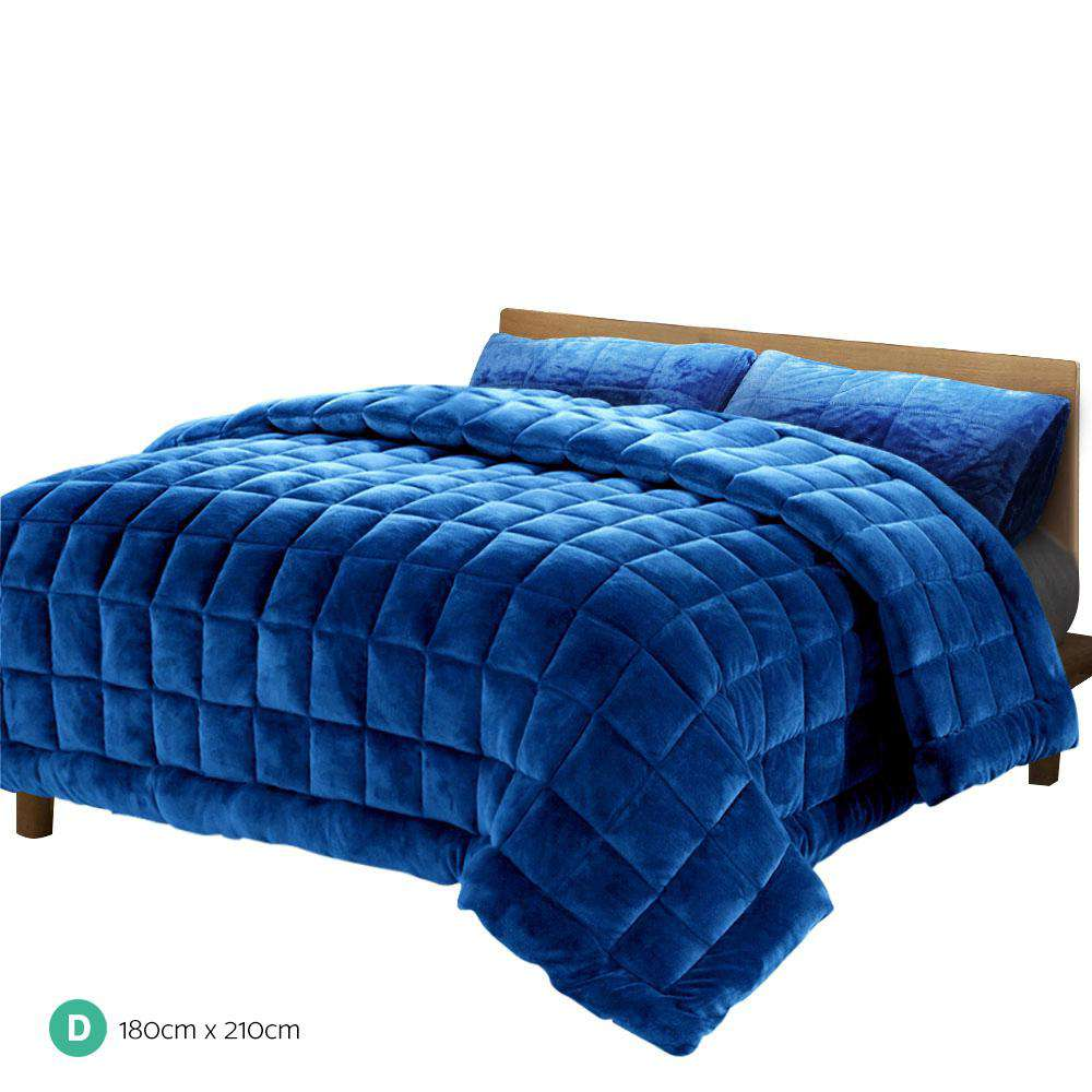Giselle Bedding Faux Mink Comforter Navy Double