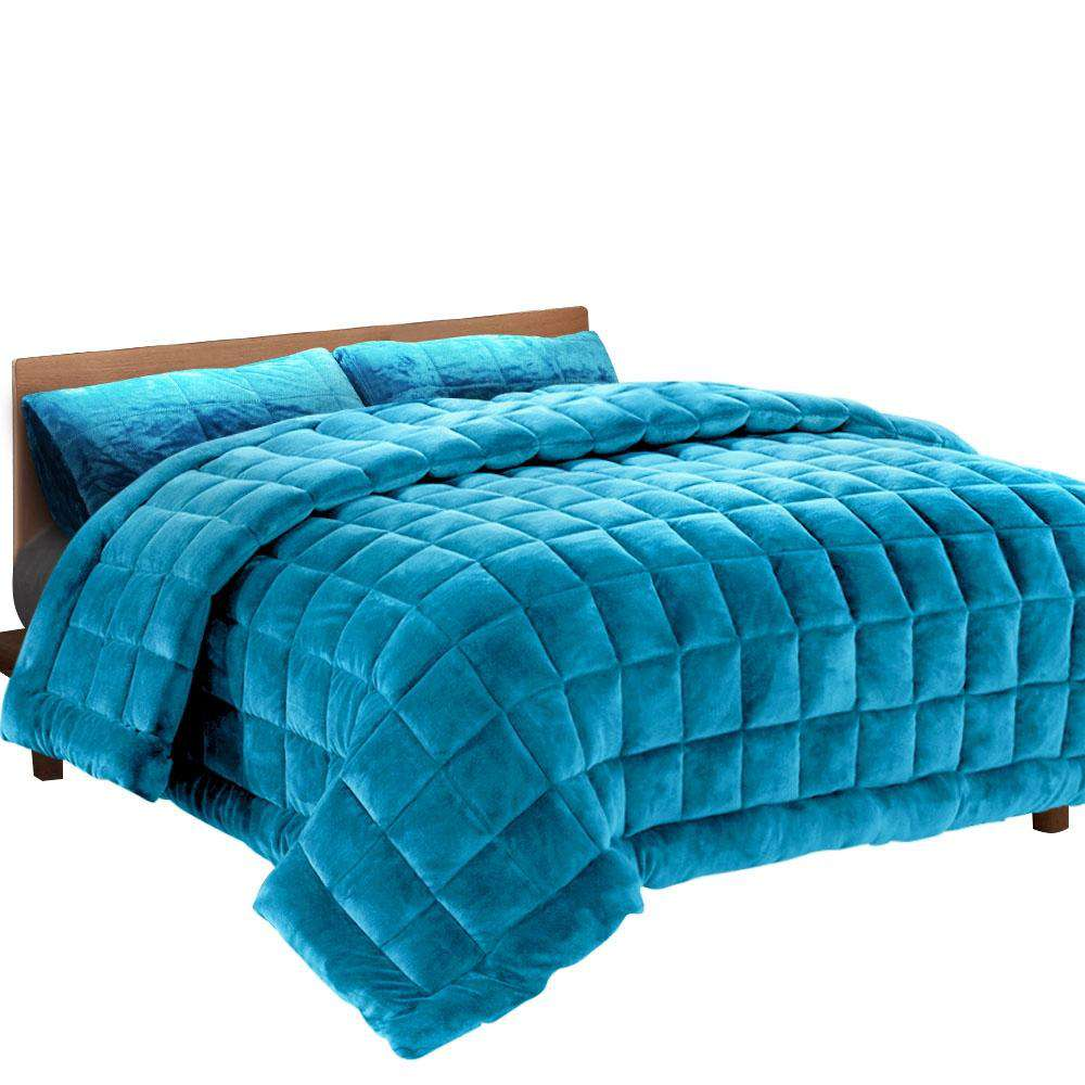 Giselle Bedding Faux Mink Quilt Comforter Winter Weighted Throw Blanket Teal King