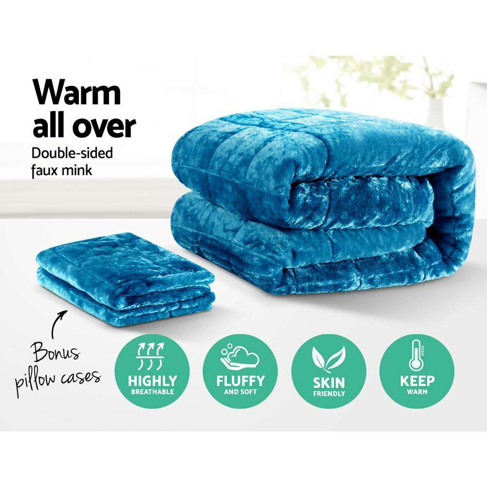 Giselle Bedding Faux Mink Comforter Teal King