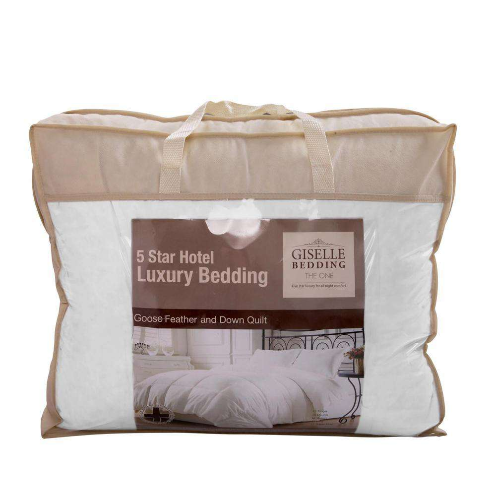Lightweight Goose Down Feather Quilt Queen White - Desirable Home Living