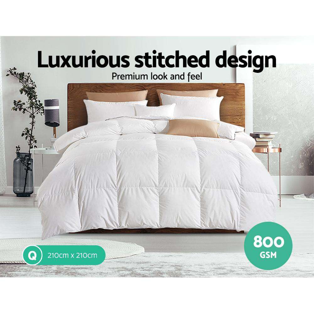 Giselle Bedding 800GSM Goose Down Feather Quilt White Queen
