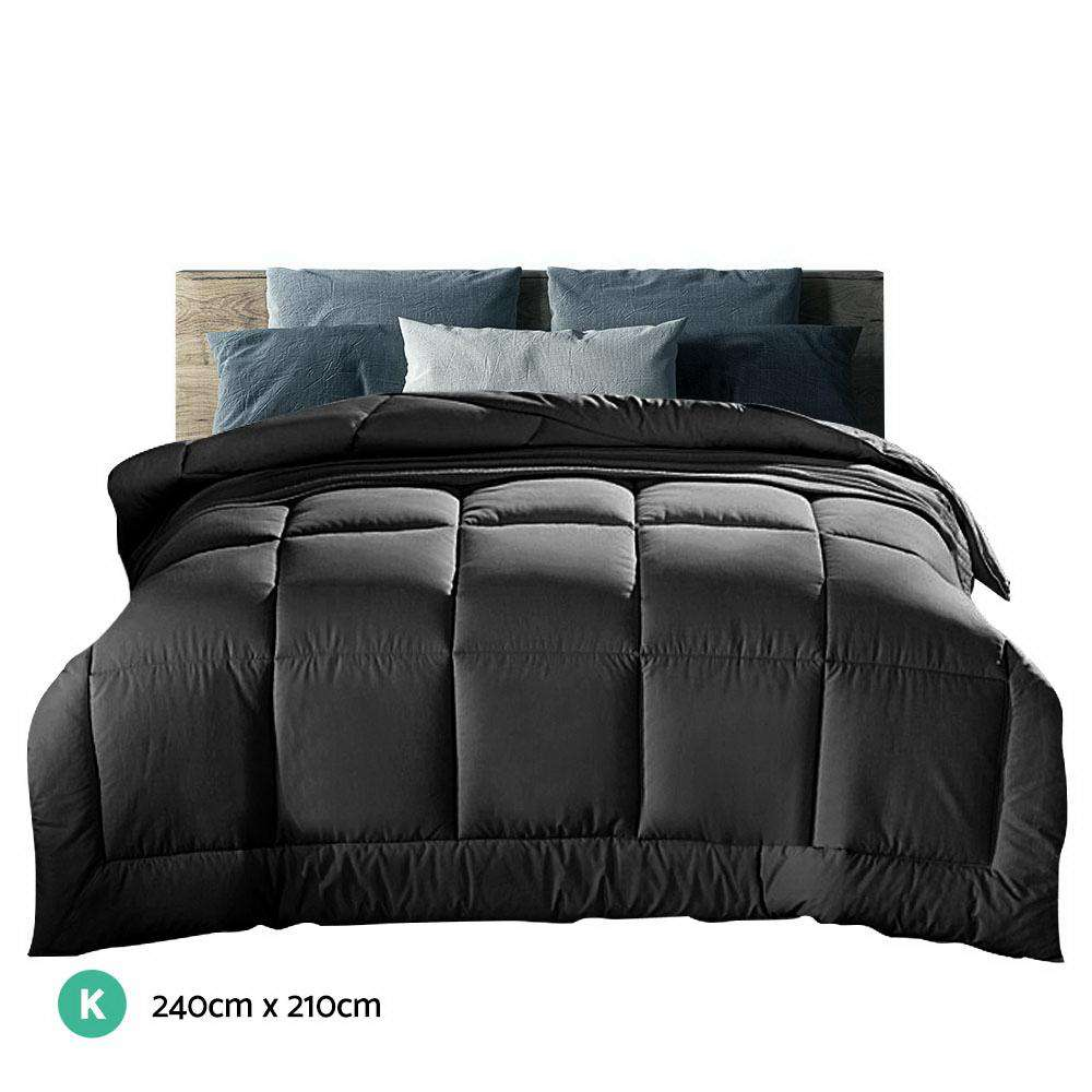 Giselle Bedding 700GSM Microfiber Microfibre Quilt Cover Doona Winter King Charcoal
