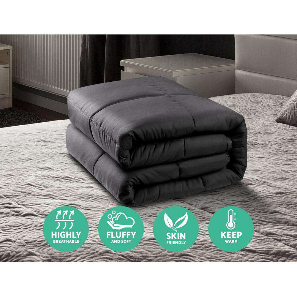 Giselle Bedding 700GSM Microfiber Microfibre Quilt Cover Doona Winter Queen Charcoal