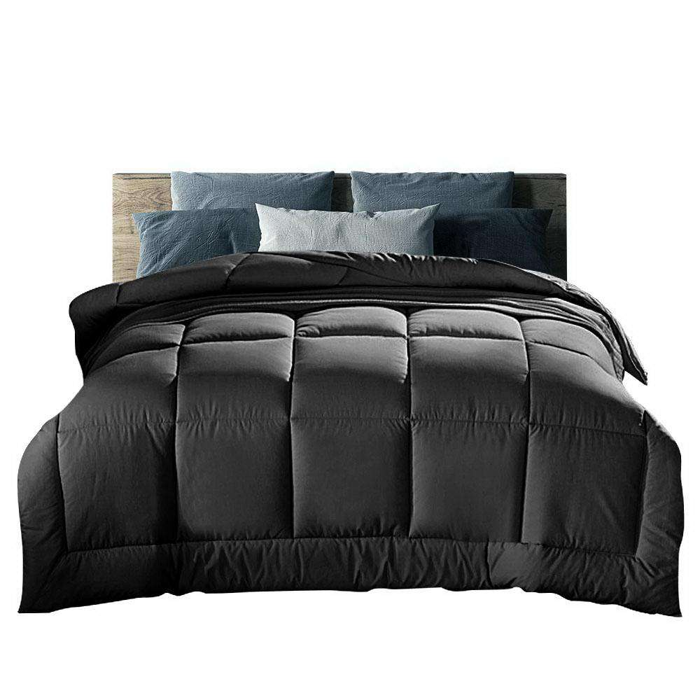 Giselle Bedding 700GSM Microfiber Microfibre Quilt Cover Doona Winter Super King Charcoal