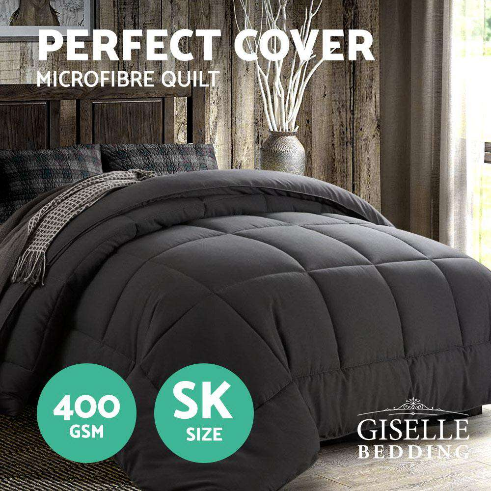 Giselle Bedding 400GSM Microfiber Microfibre Quilt Duvet Cover Doona Down Altern Super King Charcoal