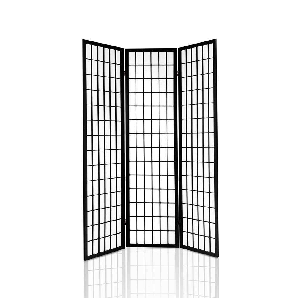 3 Panel Room Divider - Black - Desirable Home Living