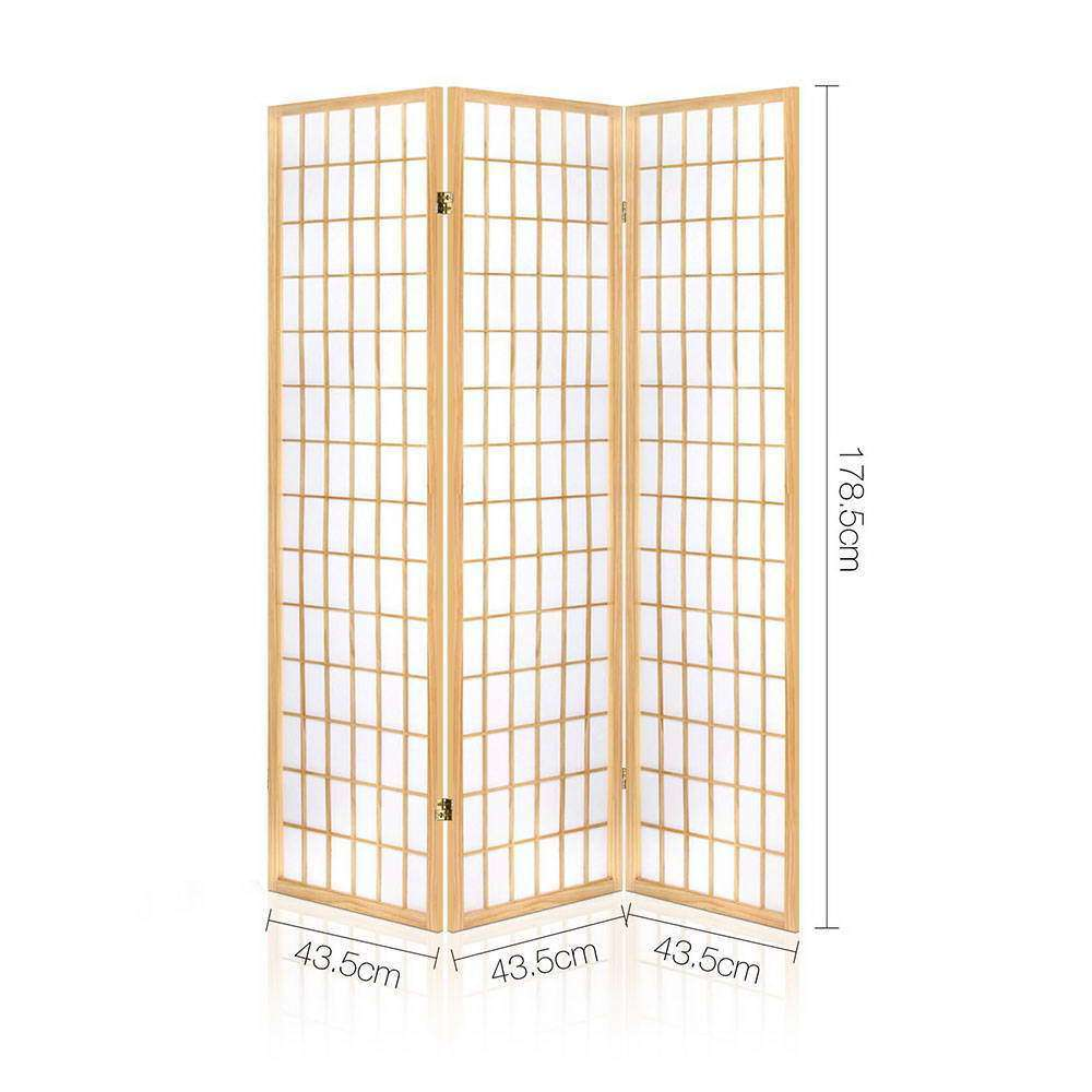 3 Panel Room Divider - Natural - Desirable Home Living