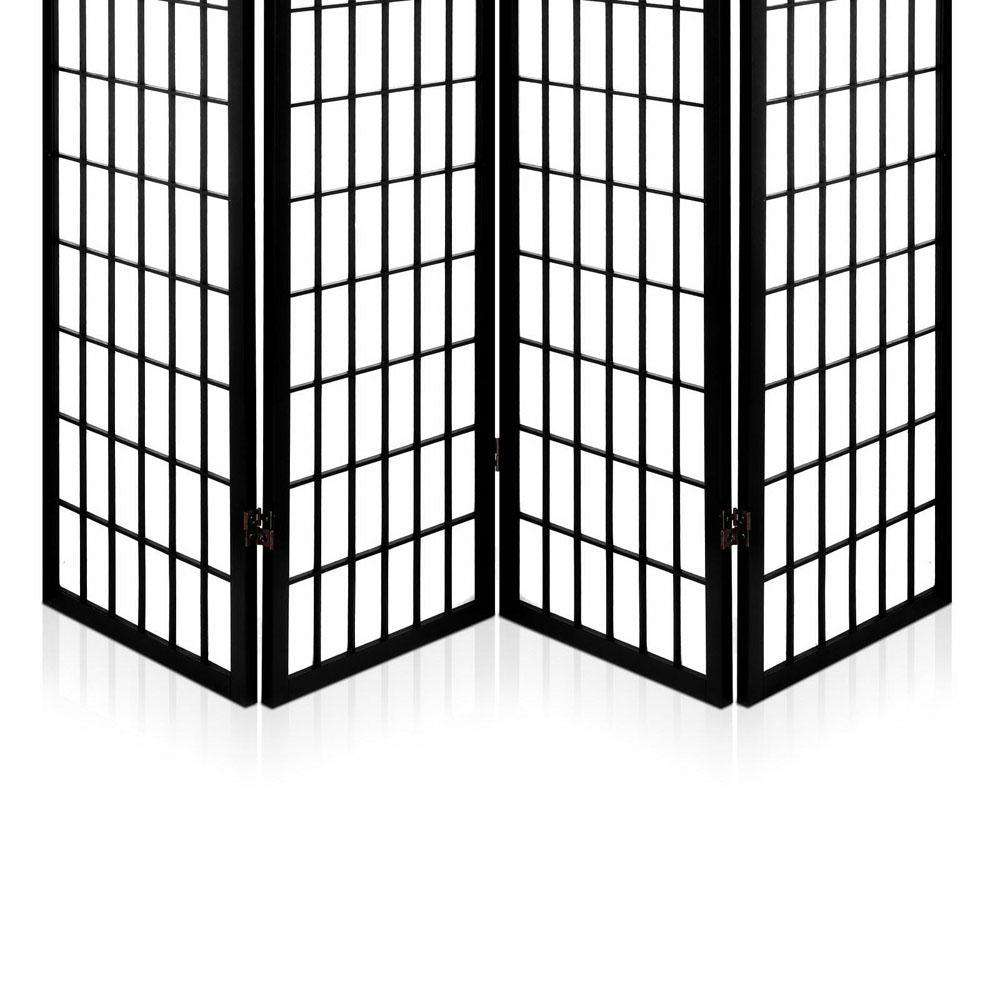Room Divider 4 Panel - Black - Desirable Home Living