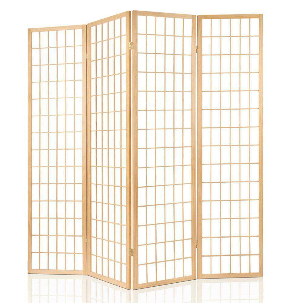 Room Divider 4 Panel - Natural - Desirable Home Living
