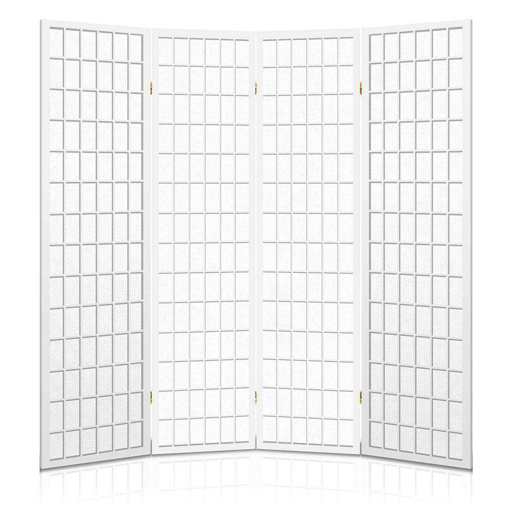 Room Divider 4 Panel - White - Desirable Home Living