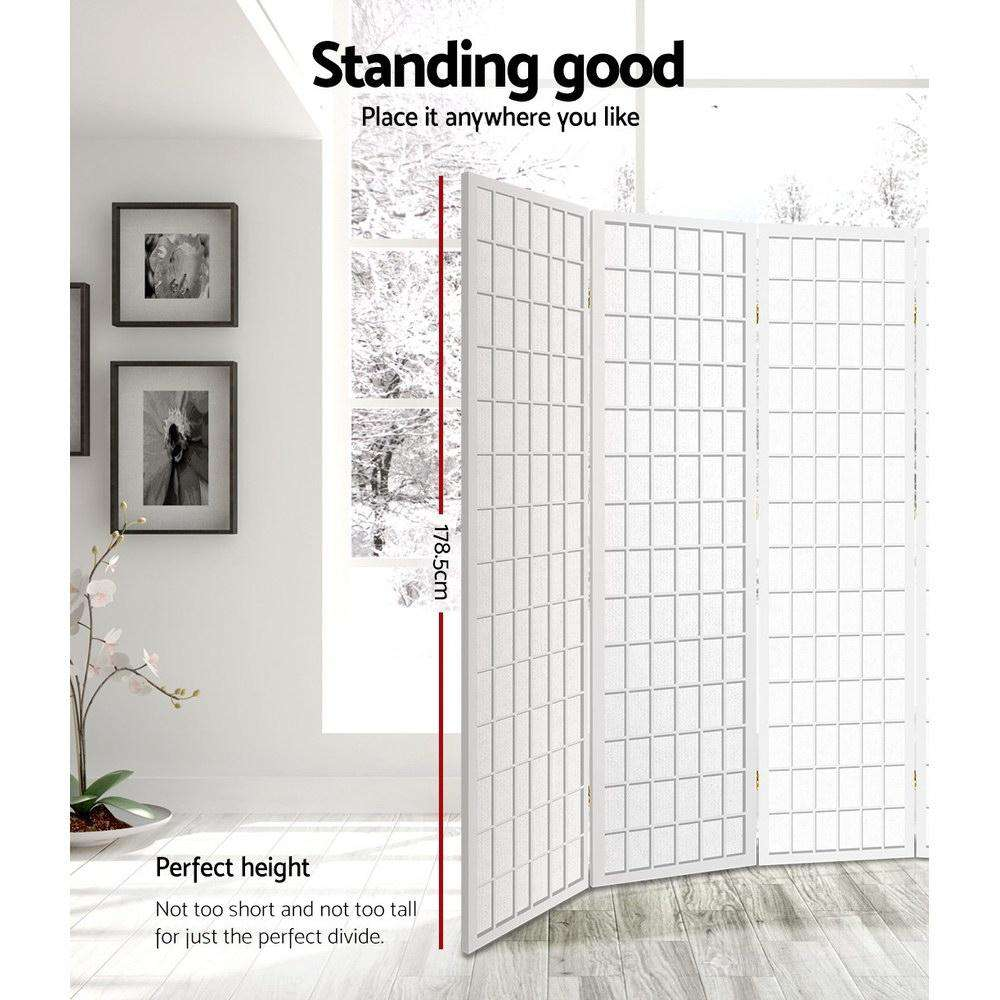 Artiss 6 Panel Room Divider Privacy Screen Foldable Pine Wood Stand White