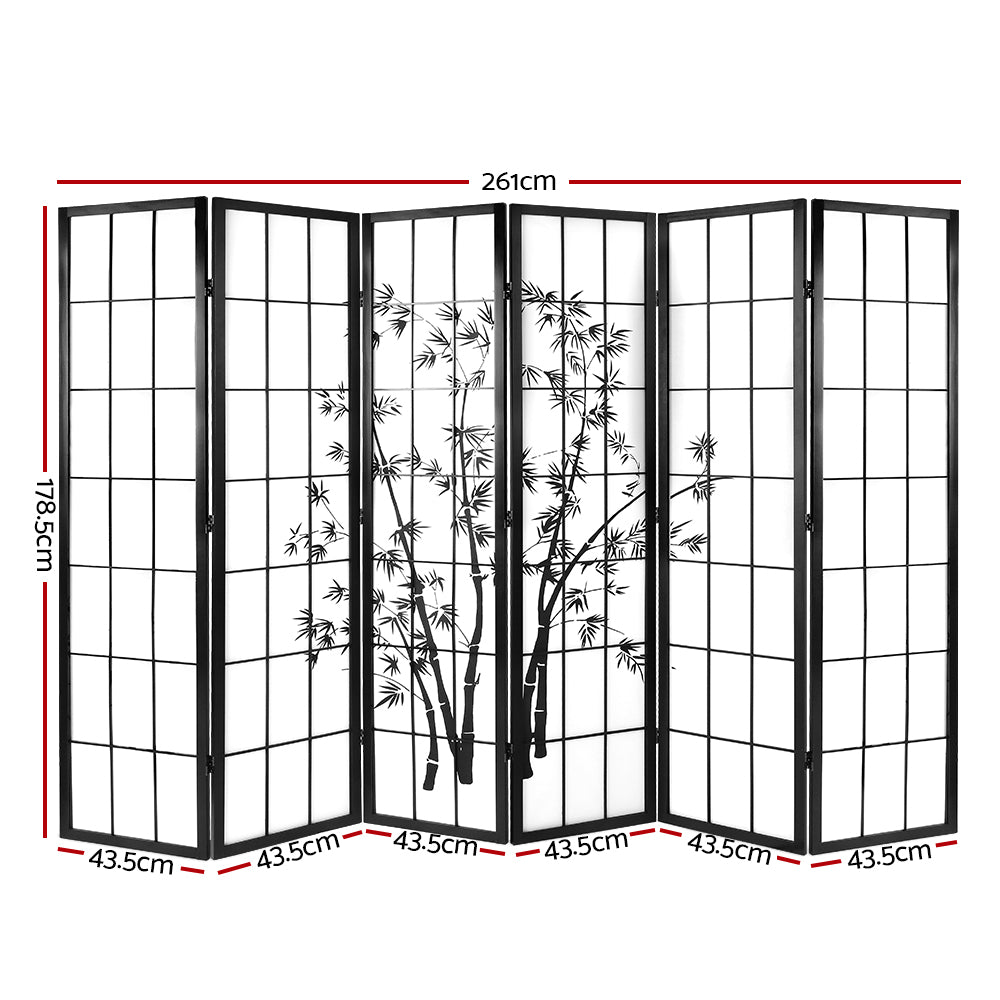 Artiss 6 Panel Room Divider Screen Black and White