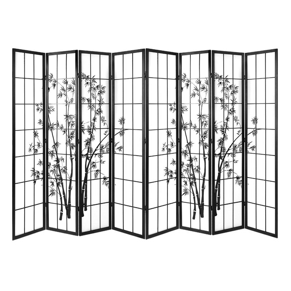 Artiss 8 Panel Room Divider Screen Privacy Dividers Pine Wood Stand Shoji Bamboo Black White