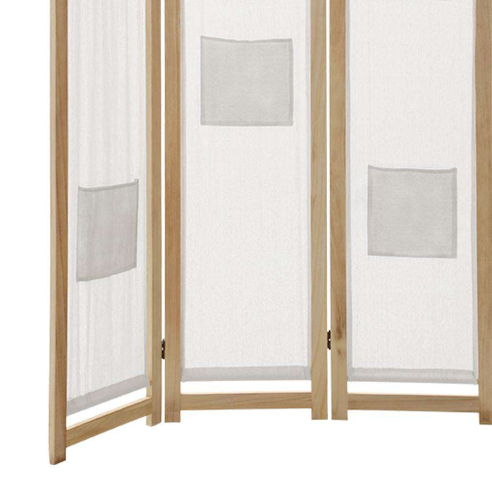 Artiss 3 Panel Room Divider Privacy Screen Wood Fabric Foldable Stand White Natural