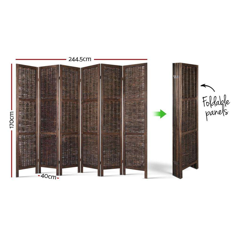 Artiss 6 Panel Room Divider Privacy Screen Foldable Wood Willow Stand