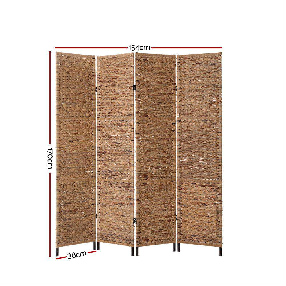 Artiss 4 Panel Room Divider Privacy Screen Water Hyacinth Patition Metal Stand Natural