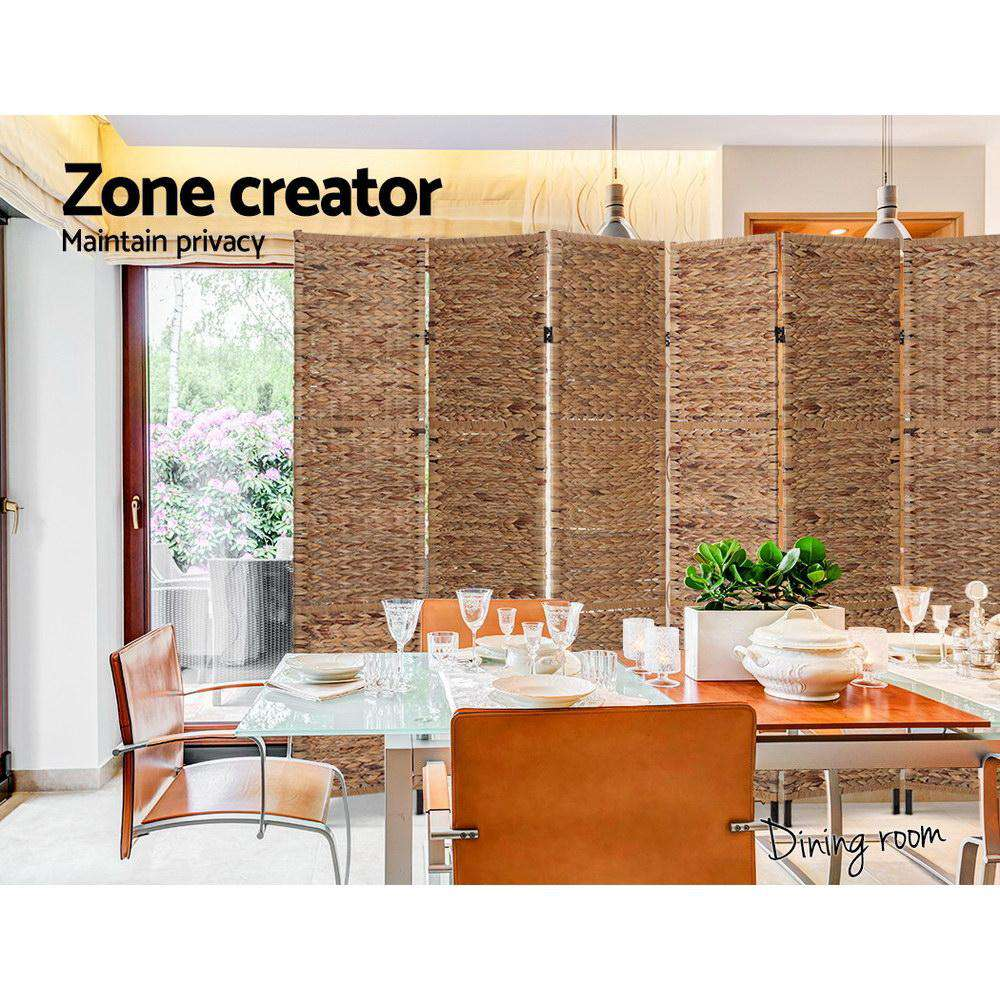 Artiss 6 Panel Room Divider Privacy Screen Water Hyacinth Patition Metal Stand Natural