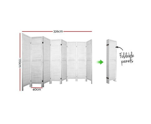 Artiss Room Divider Screen 8 Panel Timber White