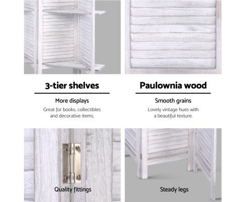 Artiss Room Divider Screen 8 Panel Timber Stand White