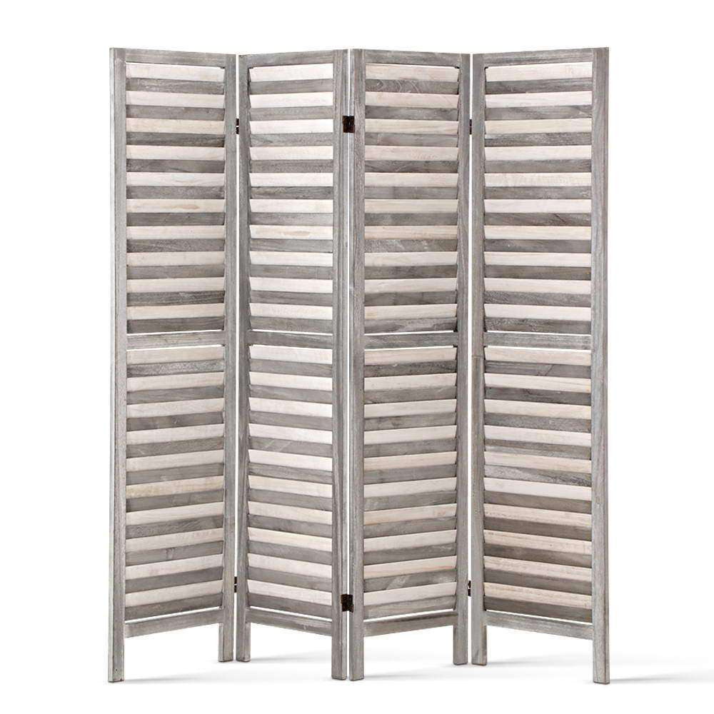 Four Panel Room Divider - Light Grey