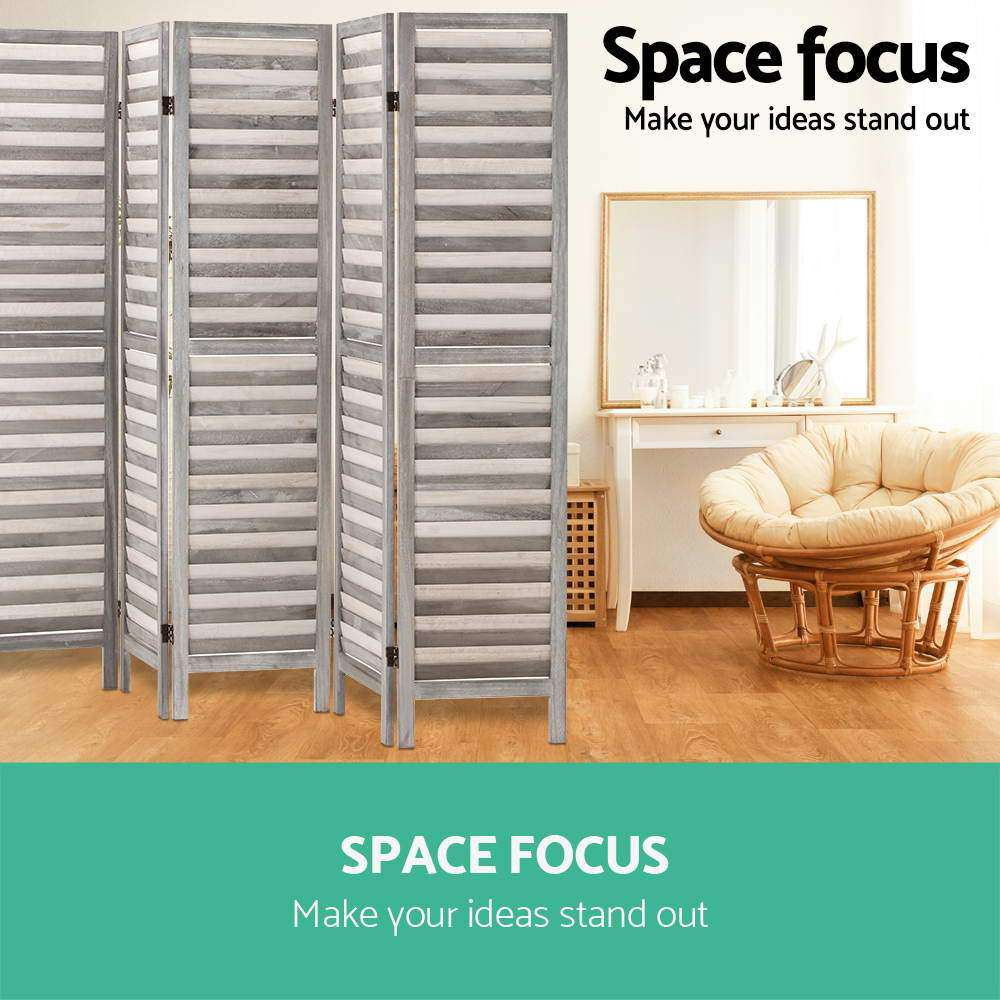Artiss 6 Panel Room Divider Privacy Screen Foldable Wood Stand Grey