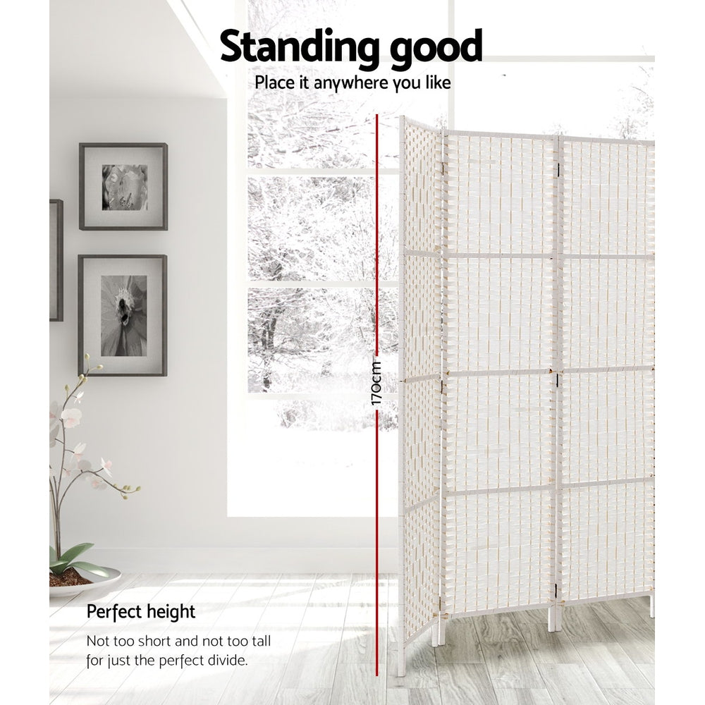 Artiss 3 Panels Room Divider Screen Rattan Timber White