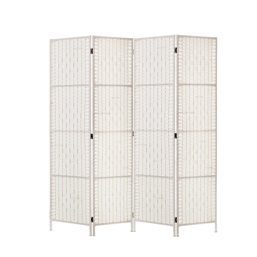 Artiss 4 Panels Room Divider Screen Privacy Rattan Timber Fold Woven Stand White