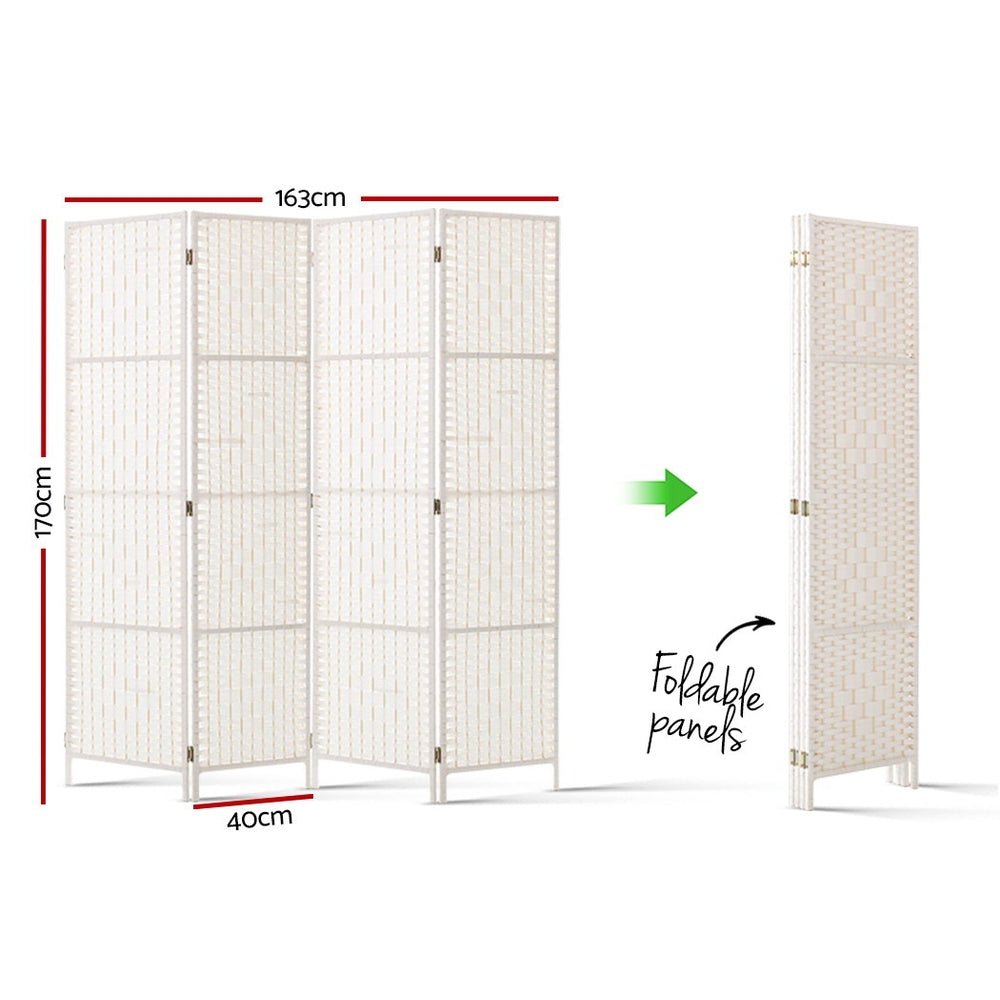 Artiss 4 Panels Room Divider Screen Rattan Timber White