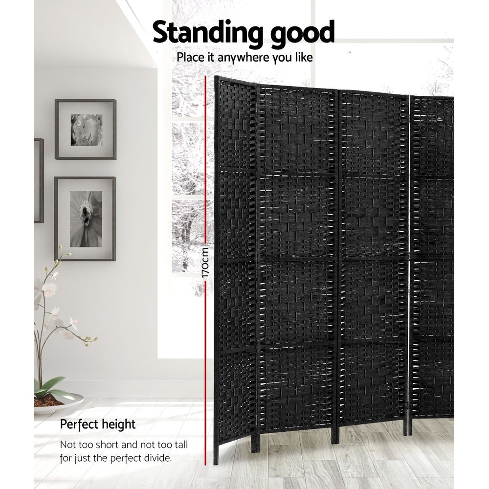 Artiss Room Divider 8 Panel Dividers Rattan Stand Black