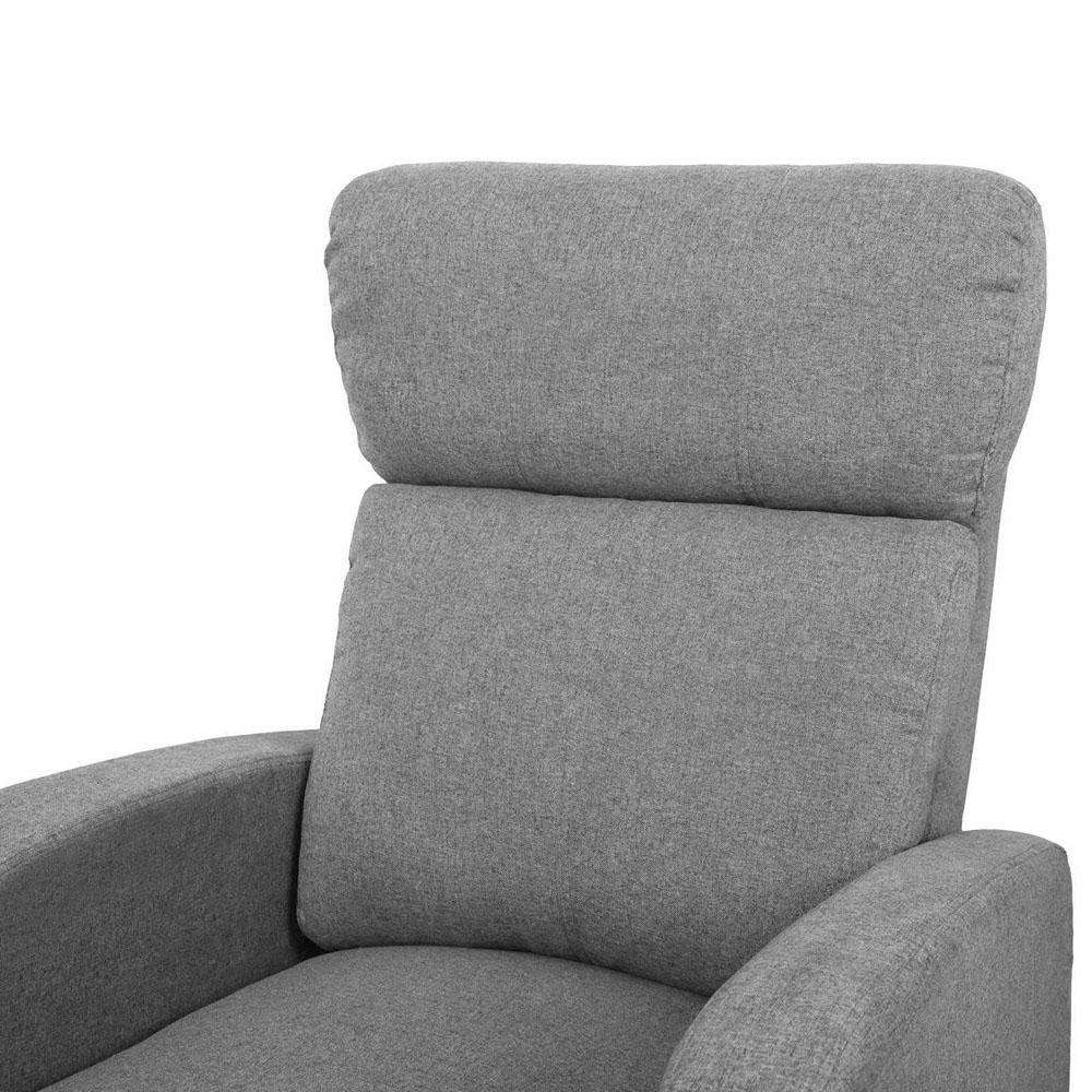 Linen Fabric Armchair Recliner - Grey - Desirable Home Living