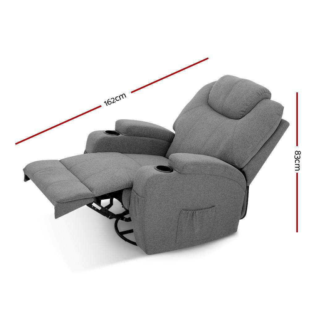 Artiss Electric Massage Recliner Chair Armchair 8 Point Heated Swivel Fabric Grey
