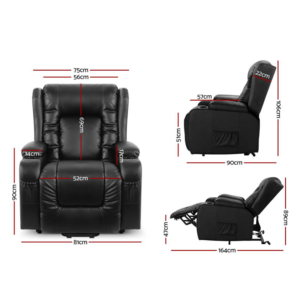 Artiss Electric Recliner Heated Massage Chair Leather