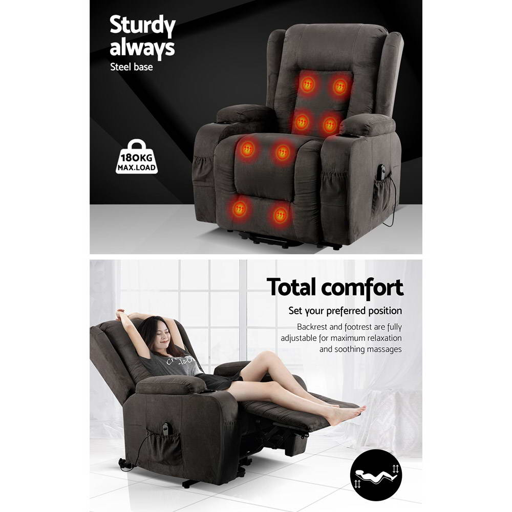 Artiss Electric Recliner Heated Massage Chair Fabric