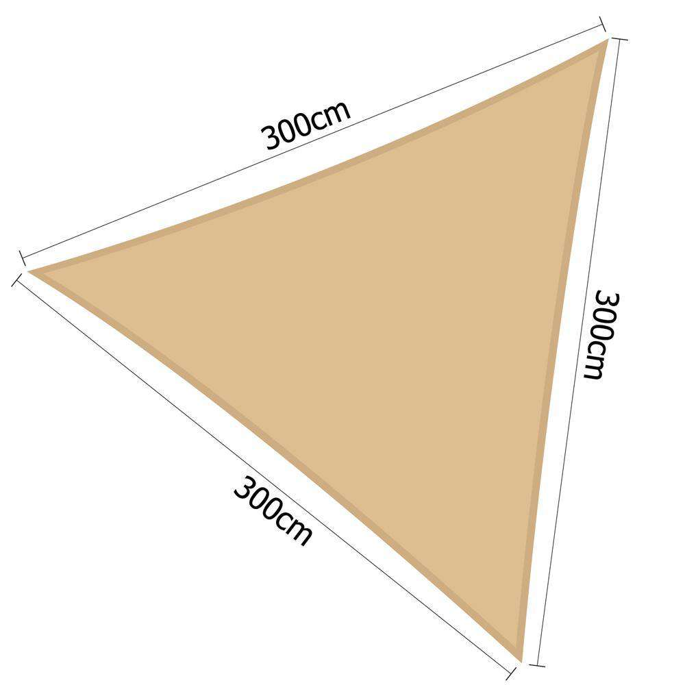 Heavy Duty 280GSM Shade Sail Canopy 3 x 3 x 3 M Sand - Desirable Home Living