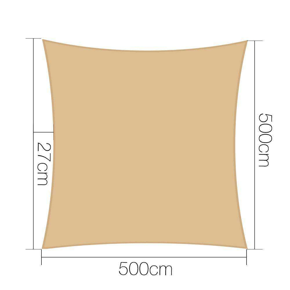 Instahut 5x5m 280gsm Shade Sail Sun Shadecloth Canopy Square