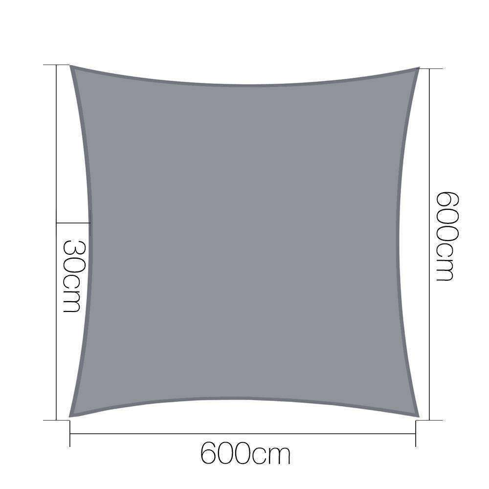 Instahut Sun Shade Sail Cloth Shadecloth Outdoor Canopy Rectangle 280gsm 6x6m